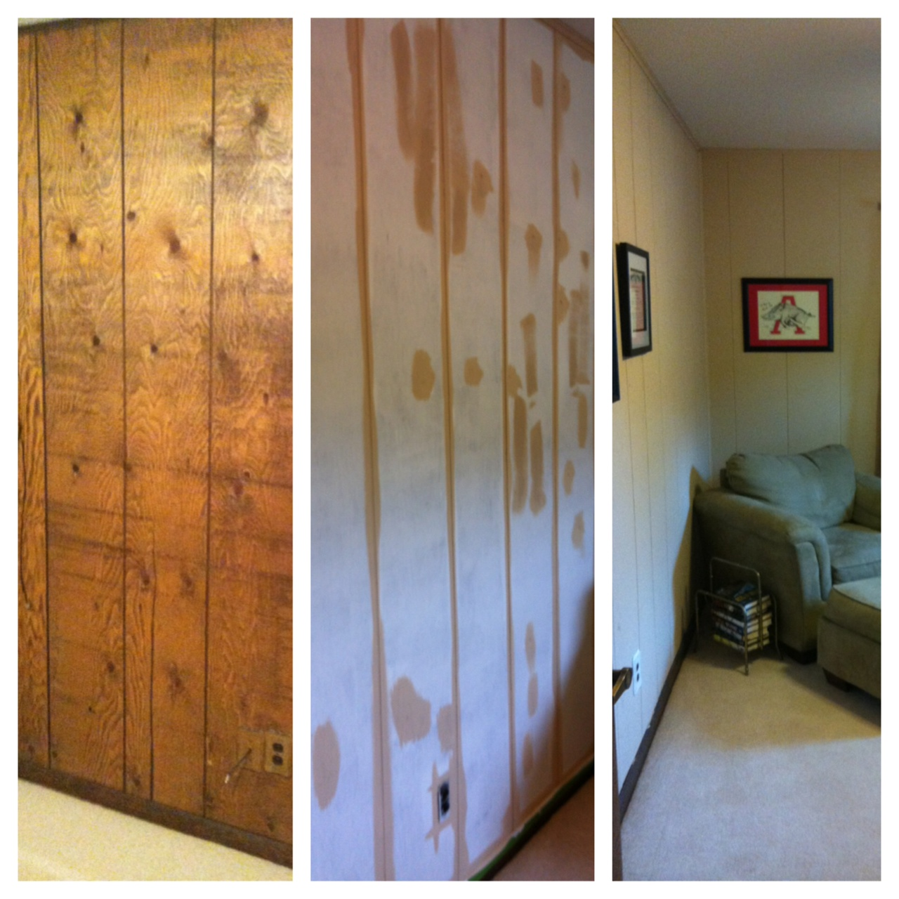 The thing I hate about painting paneling is that it has grooves. Those  grooves are a huge headache to paint. I began by priming and then painted  the next ... - Staging An Office Room €� The Bachelorette Pad Flip